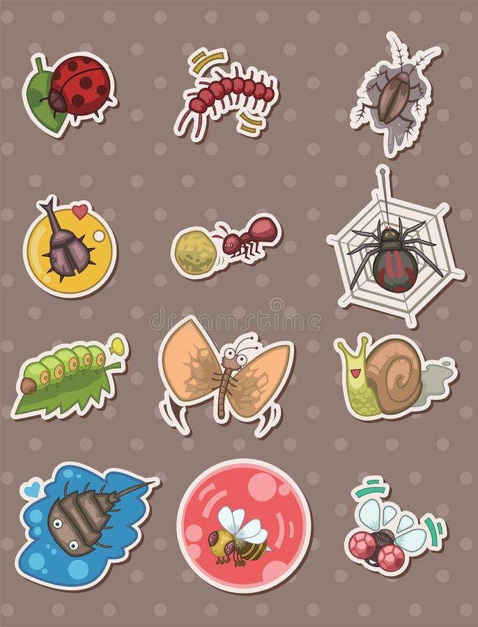 стикеры насекомого иллюстрация вектора