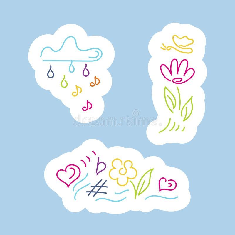 Стикеры Облако с дождем примечаний, цветком, бабочкой, радугой, музыкальной нотацией иллюстрация штока