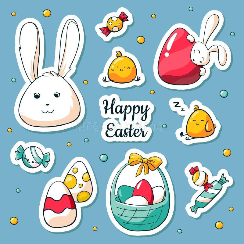 Стикеры пасхи весны установили в стиль мультфильма Иллюстрация вектора в стиле doodle Собрание счастливых символов пасхи бесплатная иллюстрация