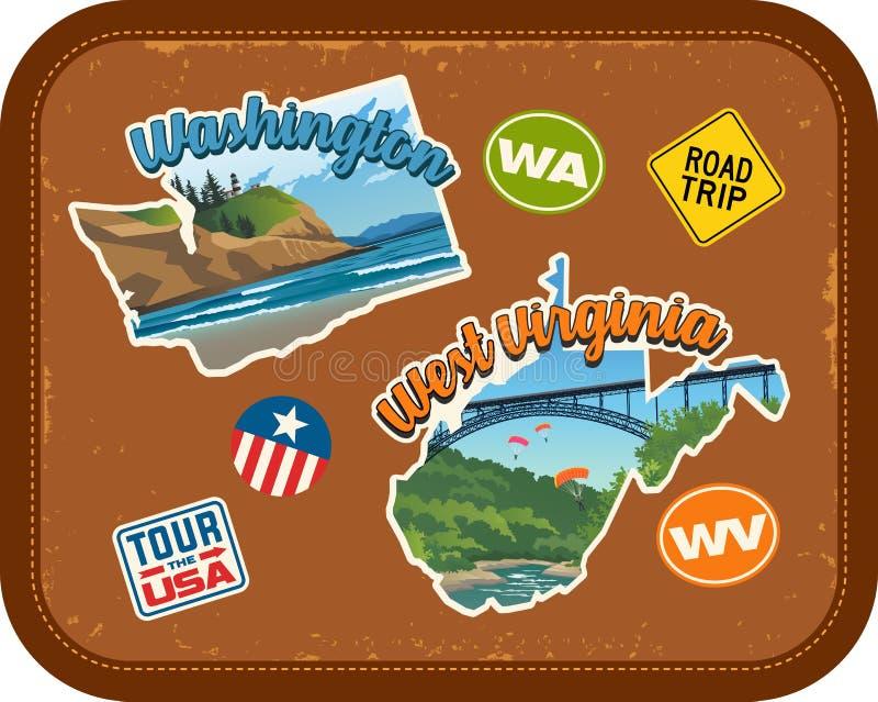 Стикеры перемещения Вашингтона, Западной Вирджинии с сценарными привлекательностями иллюстрация вектора