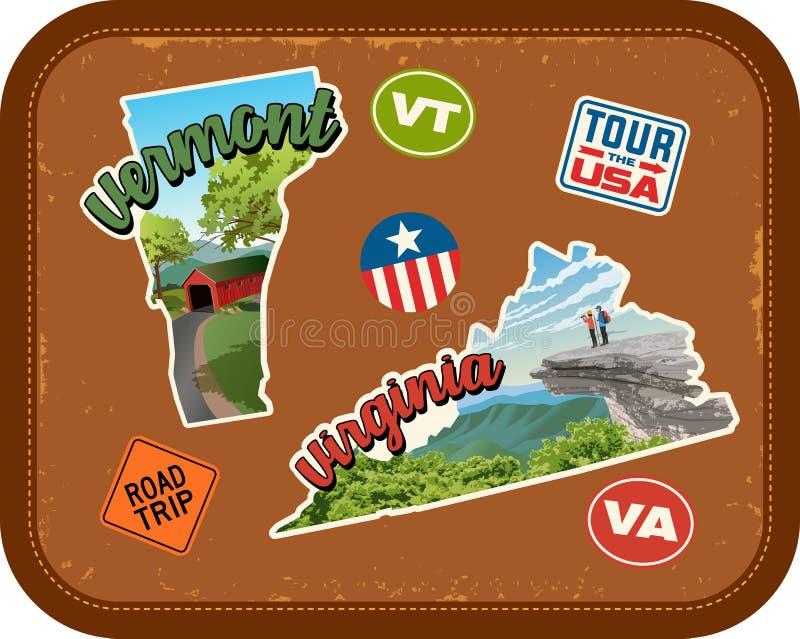 Стикеры перемещения Вермонта, Вирджинии с сценарными привлекательностями иллюстрация штока