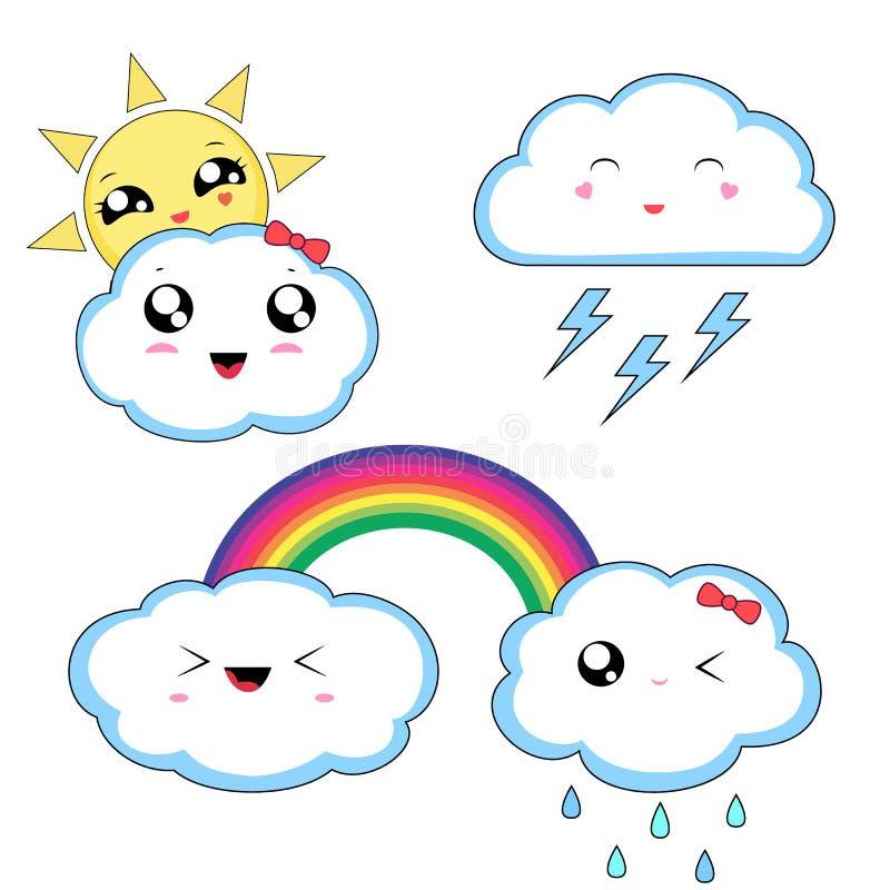 Стикеры погоды Kawaii, милые характеры изолированные на белой предпосылке иллюстрация вектора