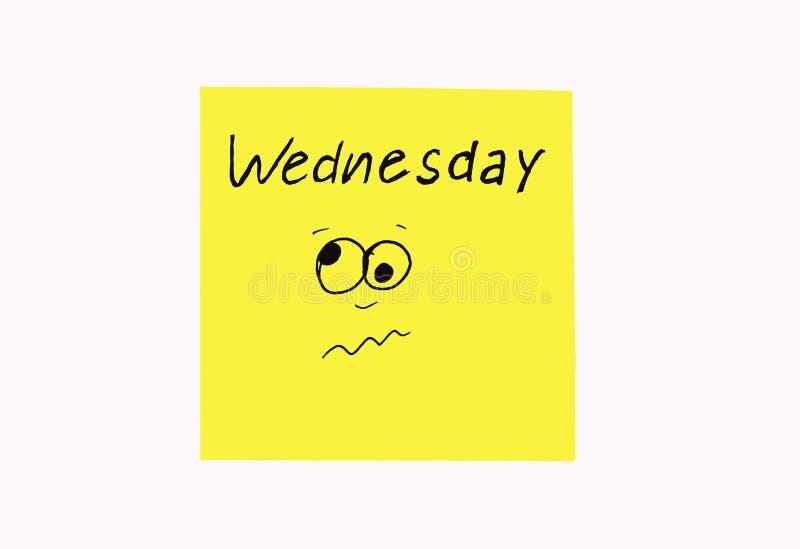 Стикеры примечаний для того чтобы напомнить дни о недели Смешные примечания с покрашенными эмоциями, отражая дни недели Понедельн стоковая фотография