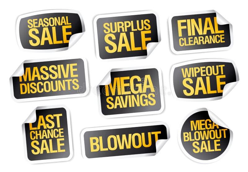 Стикеры продажи установили - сезонную продажу, окончательный зазор иллюстрация штока