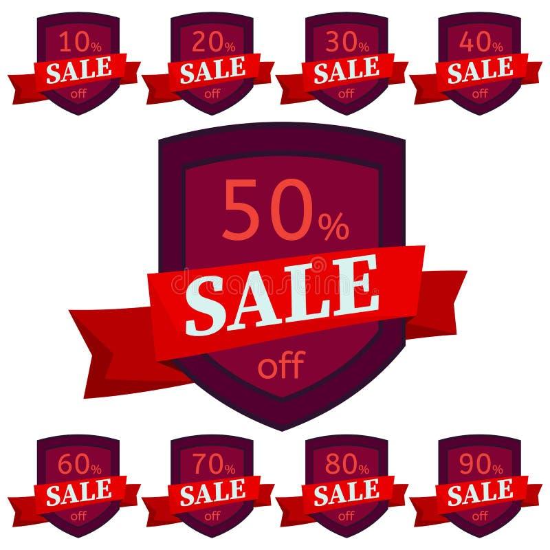 стикеры рабата установленные Темные - красные значки с красной лентой для продажи 10 до 90 процентов  иллюстрация штока