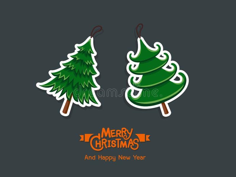Стикеры рождественской елки С Рождеством Христовым и счастливый Новый Год для бесплатная иллюстрация