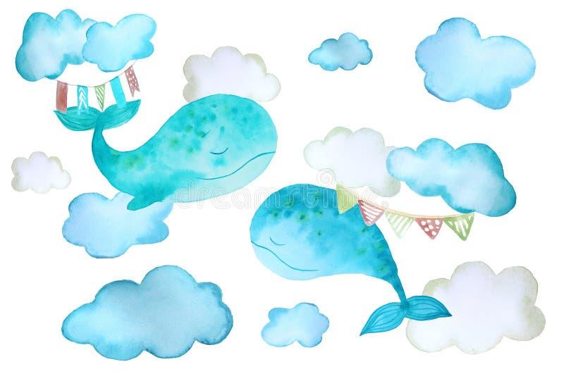 Стикеры с китами и облаками иллюстрация вектора