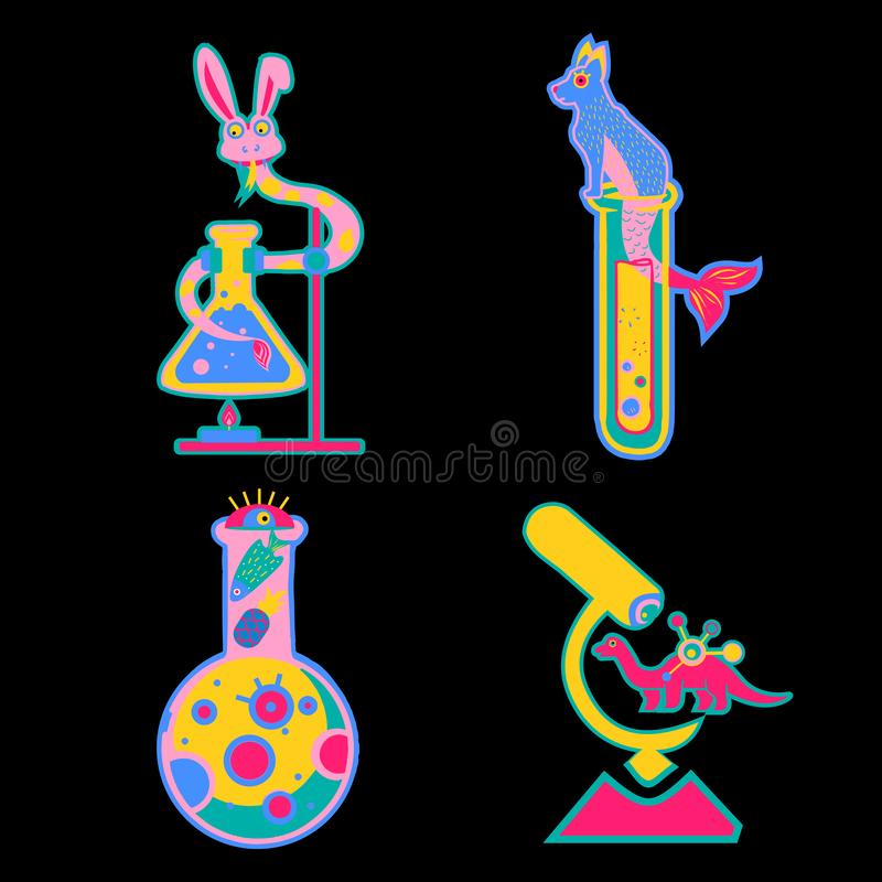 Stickers with test tubes and animals, dinosaurs yellow, pink, blue stock illustration