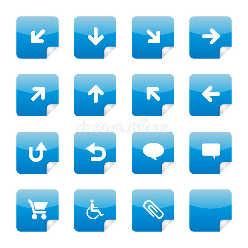 стикеры 3 голубые лоснистые частей иллюстрация вектора