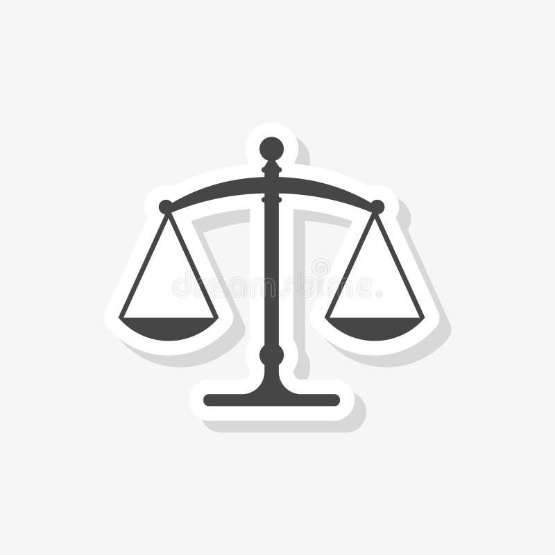 Стикер весов правосудия плоский, простой значок вектора иллюстрация штока