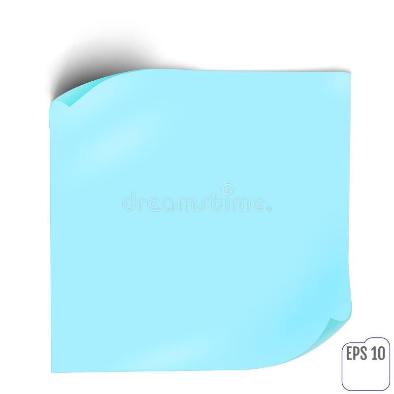 Стикер голубой бумаги с тенью Пустые знамя сети или ярлык o скручиваемости иллюстрация штока