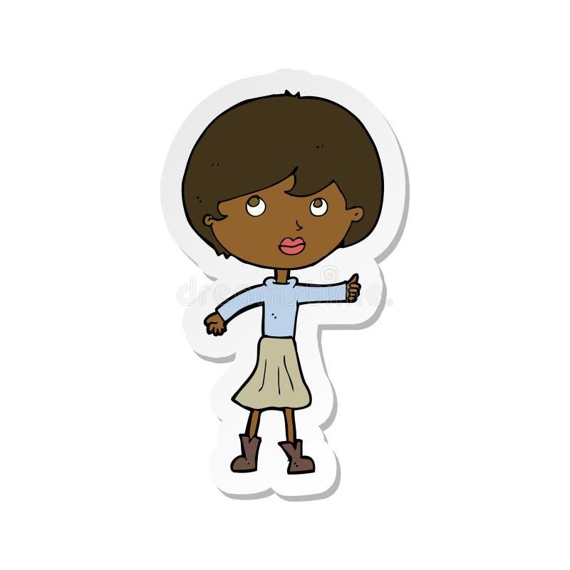 стикер женщины мультфильма спрашивая вопрос иллюстрация штока