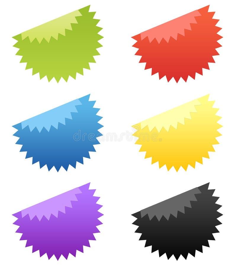 стикер звезды комплекта 6 кнопок лоснистый бесплатная иллюстрация