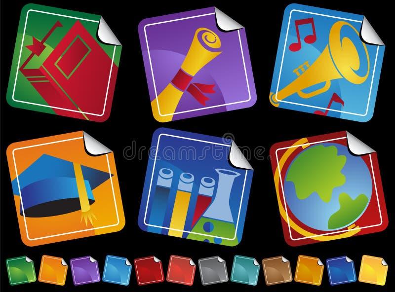 стикер икон образования иллюстрация штока