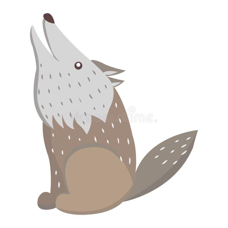 Стикер или значок вектора милого шаржа волка плоские иллюстрация штока