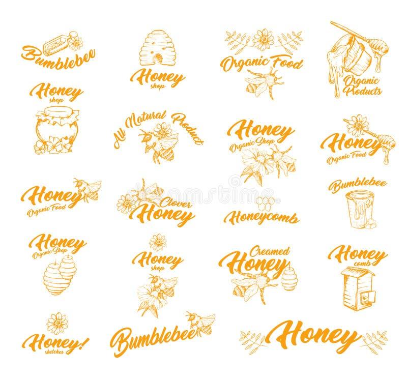 Стикер или ярлыки с пчелами для контейнера меда иллюстрация штока