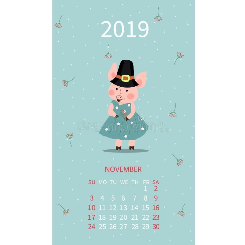 Стикер календаря свиньи, шаблон ноября 2019, иллюстрация вектора мультфильма свиньи руки вычерченная Можно использовать для поздр иллюстрация вектора