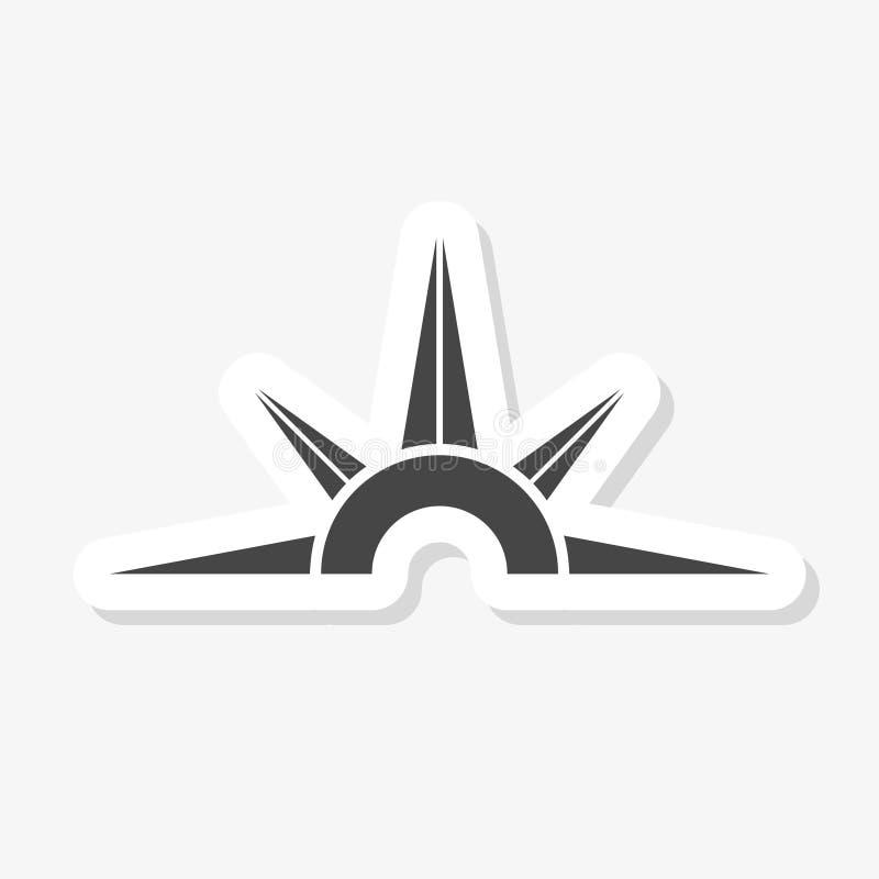 Стикер компаса в ультрамодном стиле дизайна Значок компаса изолированный на белой предпосылке иллюстрация вектора