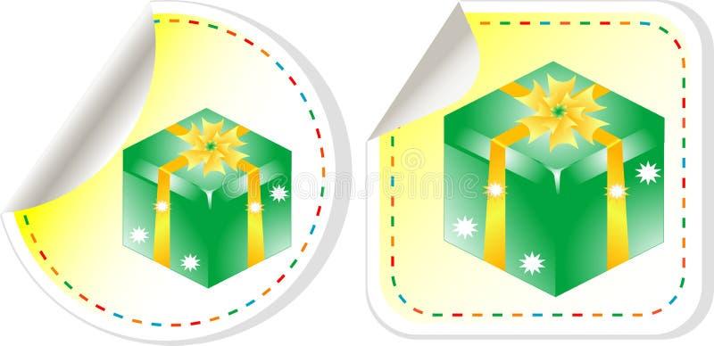 стикер комплекта ярлыка праздника зеленого цвета коробки смычка иллюстрация вектора