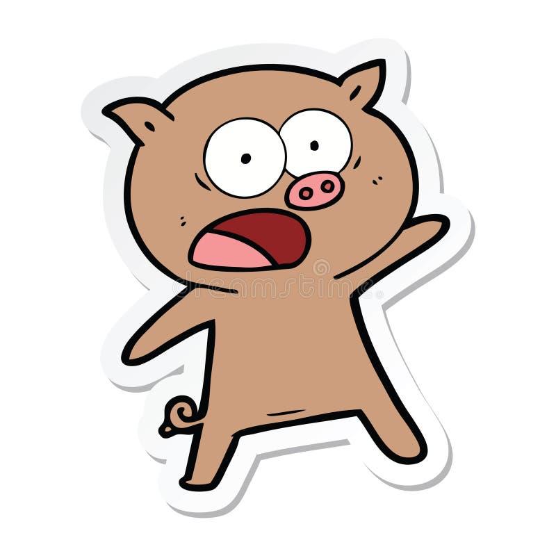 стикер кричать свиньи мультфильма иллюстрация вектора