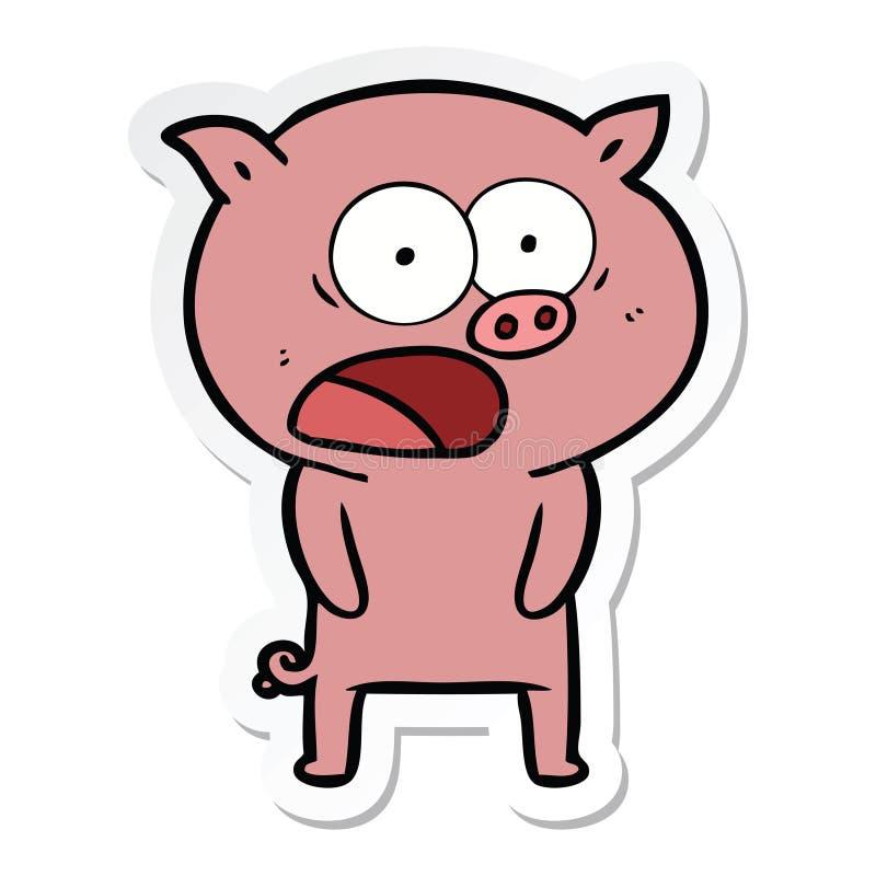 стикер кричать свиньи мультфильма иллюстрация штока