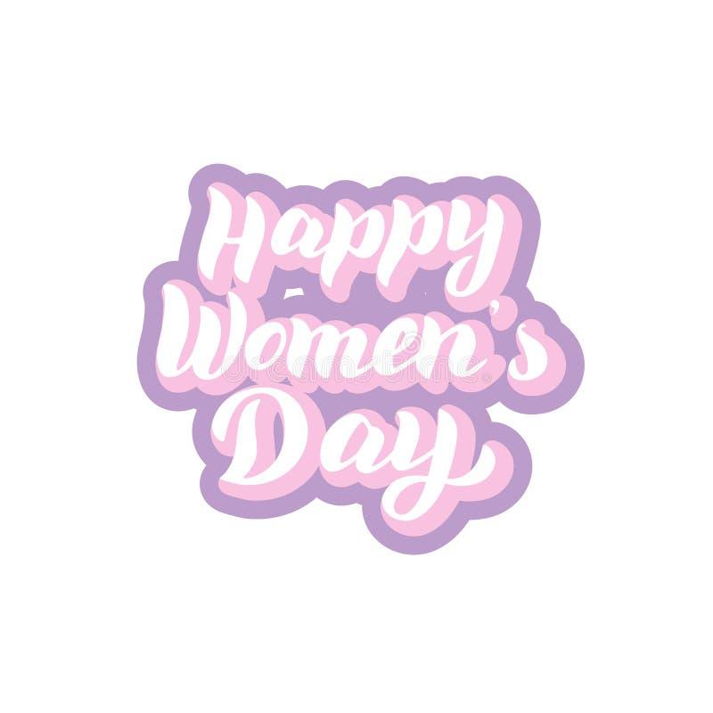 Стикер литерности дня счастливых женщин Дизайн оформления торжества Феминист текст праздника иллюстрация вектора