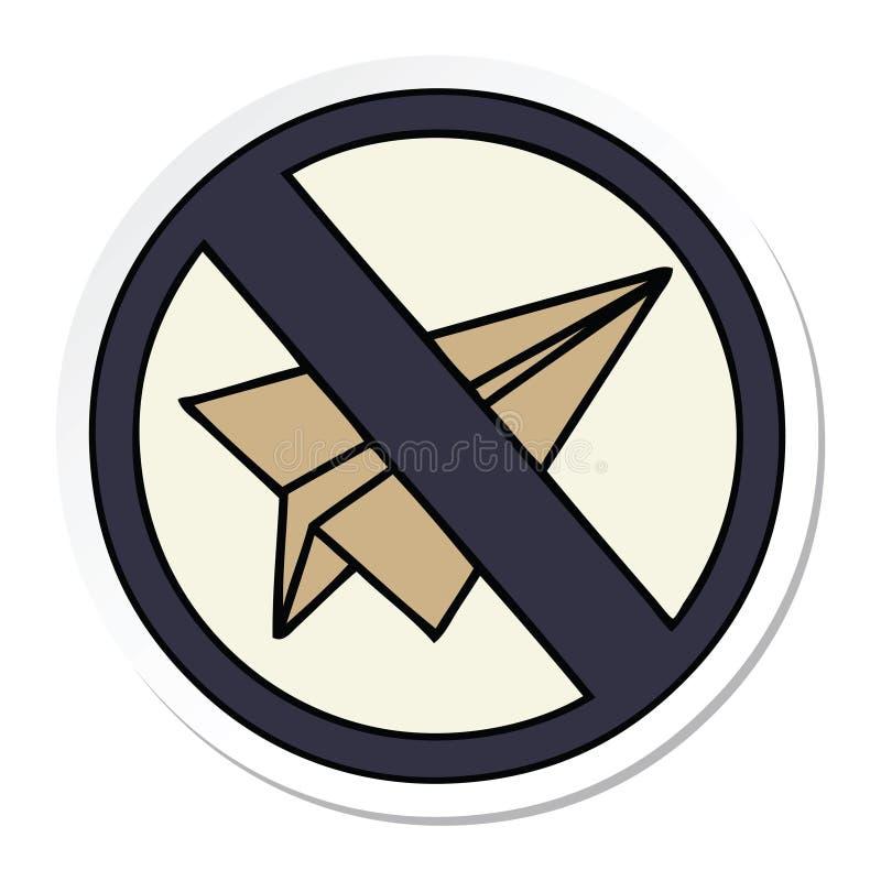 стикер милого мультфильма отсутствие бумажного знака аэроплана иллюстрация штока