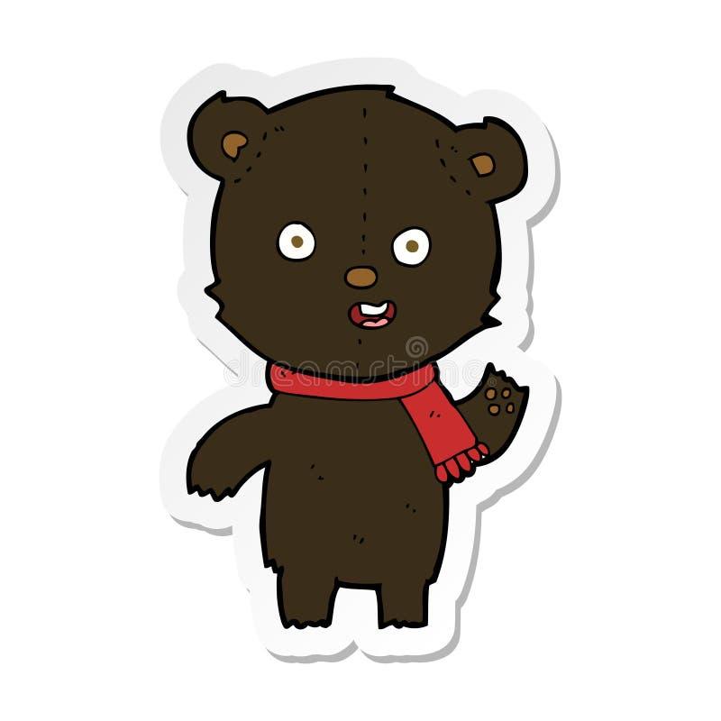 стикер мультфильма развевая новичок черного медведя с шарфом бесплатная иллюстрация