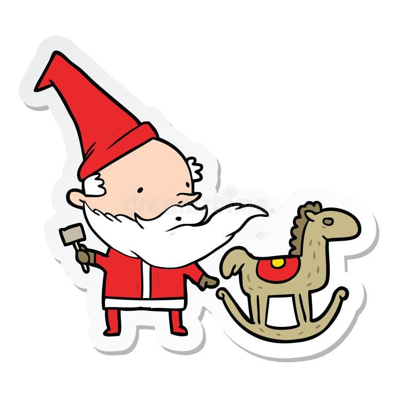 стикер мультфильма santa делая игрушку бесплатная иллюстрация