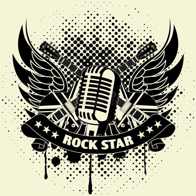 Download Стикер на рубашке изображение гитары крыла Иллюстрация вектора - иллюстрации насчитывающей гитара, крона: 40577221