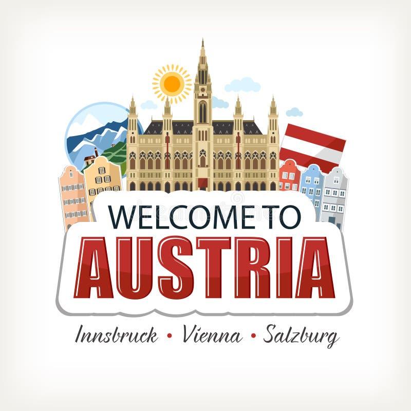 Стикер печати литерности собрания символов Австрии иллюстрация вектора