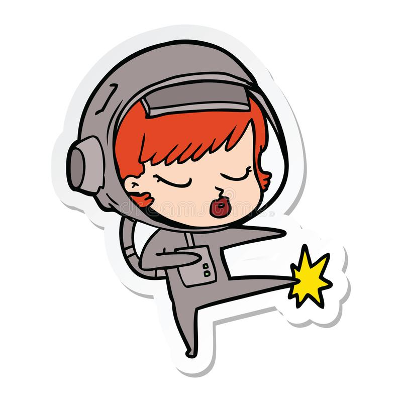 стикер пинать карате девушки астронавта мультфильма милый иллюстрация вектора