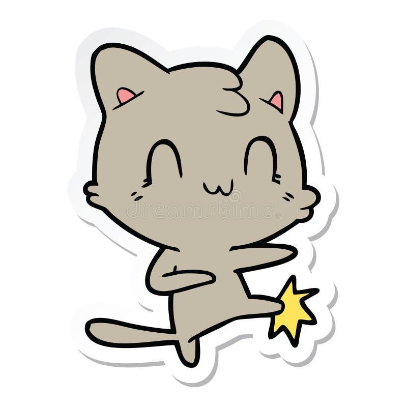 стикер пинать карате кота мультфильма счастливый иллюстрация штока