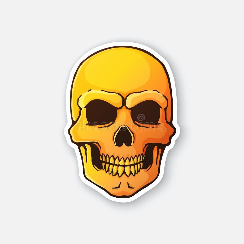 Стикер пламенистого кровопролитного злого черепа иллюстрация вектора