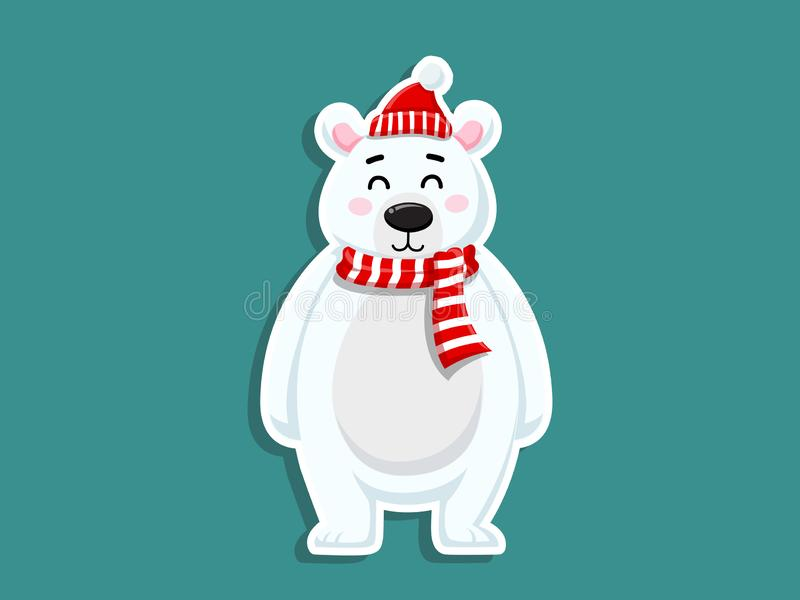 Стикер полярного медведя мультфильма вектора милый С Рождеством Христовым и с новым годом декоративный элемент на празднике Дизай иллюстрация штока