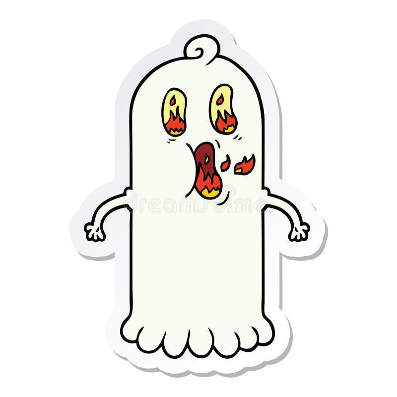 стикер призрака мультфильма с глазами пылать иллюстрация штока