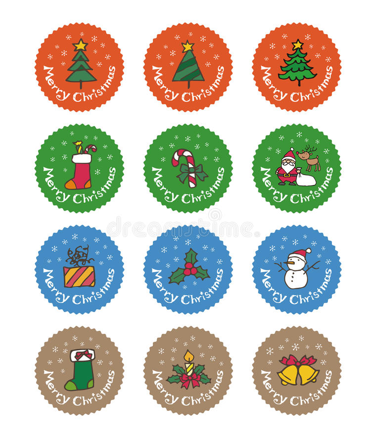 Стикер рождества, дизайн ярлыка бесплатная иллюстрация