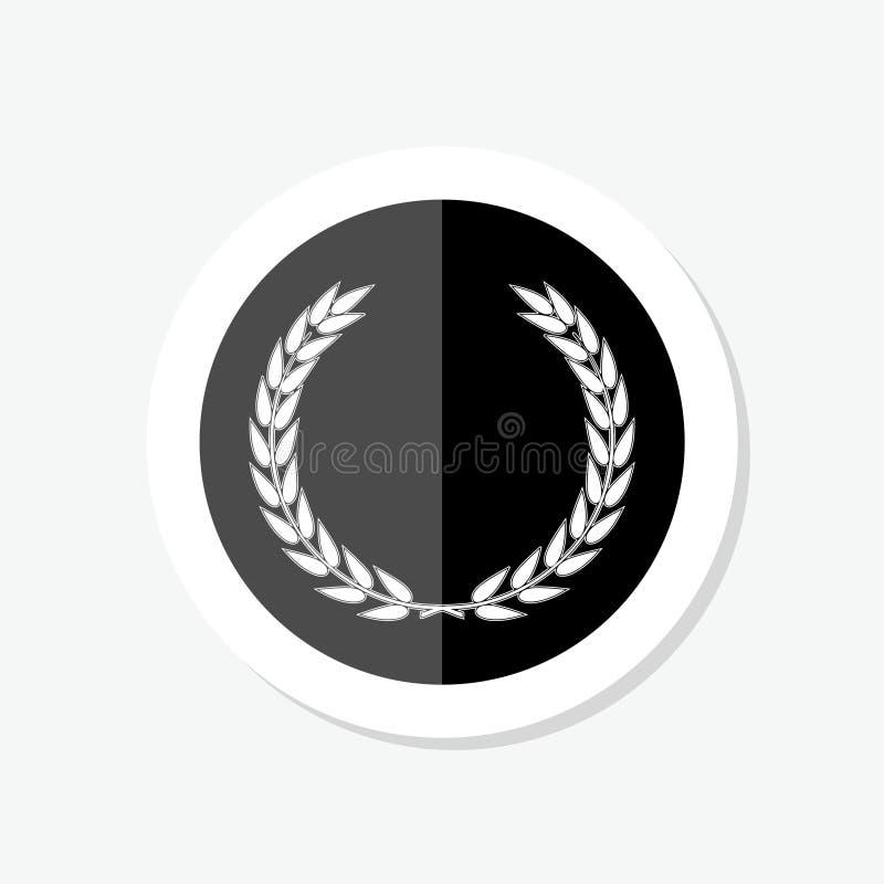 Стикер символа лаврового венка foliate Черные круговые силуэты лаврового венка иллюстрация вектора