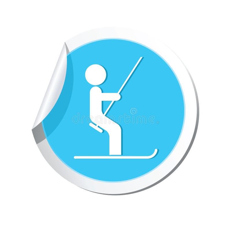 Стикер с значком подъема лыжи бесплатная иллюстрация
