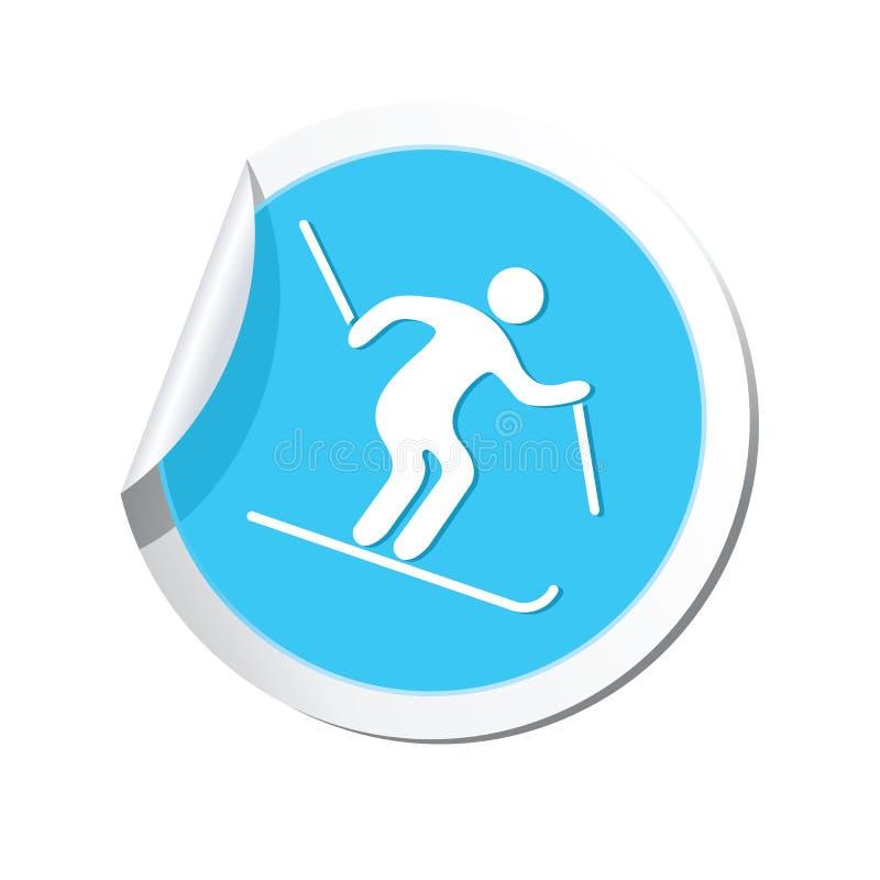 Стикер с значком покатого катания на лыжах бесплатная иллюстрация