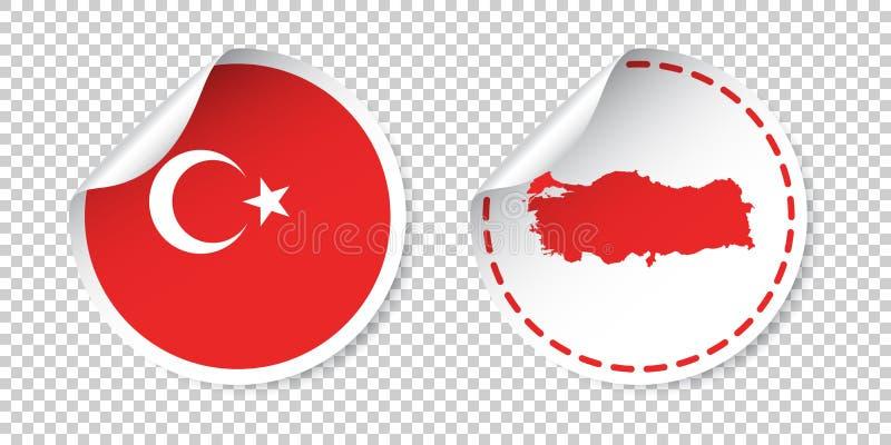Стикер Турции с флагом и картой Ярлык, круглая бирка с страной иллюстрация вектора