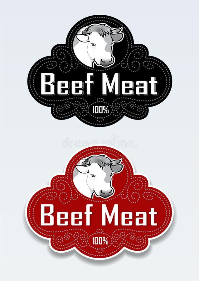 стикер уплотнения мяса говядины иллюстрация штока