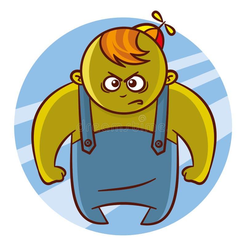 Стикер характера мальчика супергероя шаржа бесплатная иллюстрация