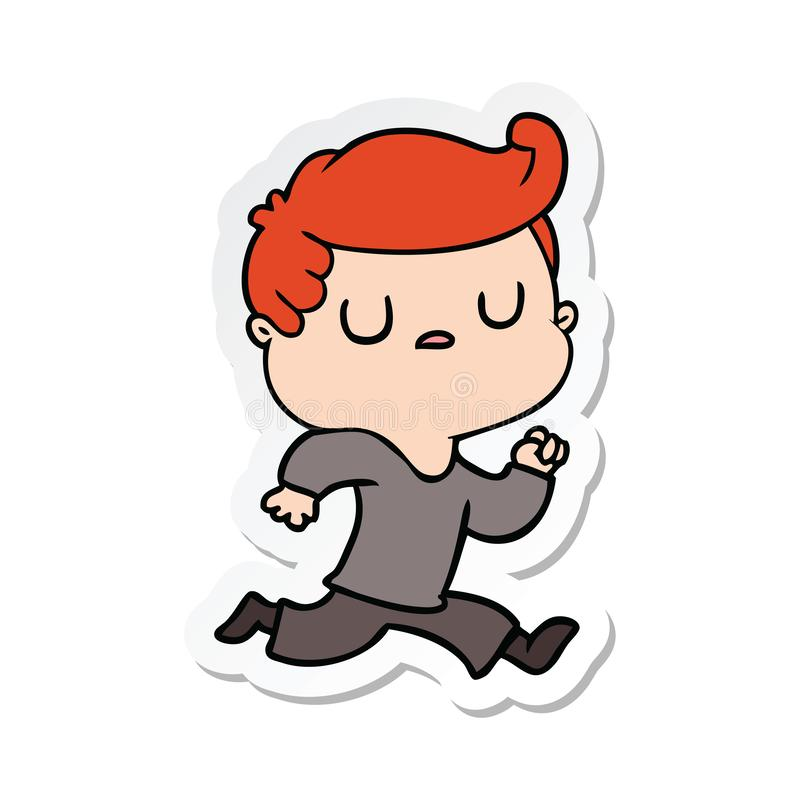 стикер хода человека мультфильма отчужденного иллюстрация вектора