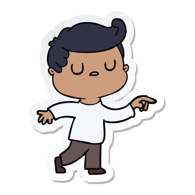 стикер человека мультфильма отчужденного указывая палец бесплатная иллюстрация