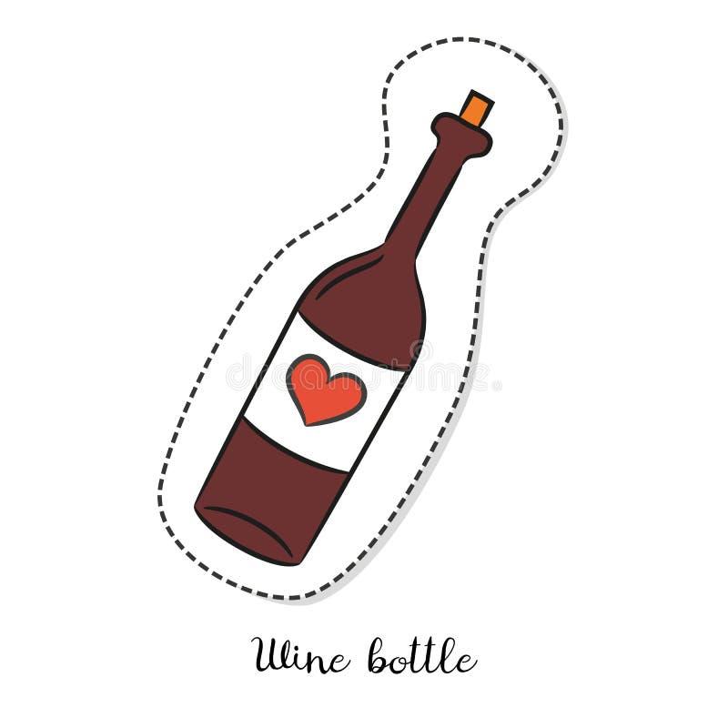 Стикер шаржа с бутылкой вина на белой предпосылке бесплатная иллюстрация