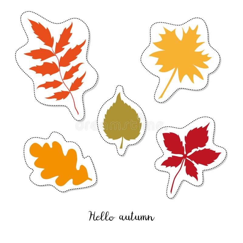 Стикер шаржа с листьями осени на белой предпосылке бесплатная иллюстрация