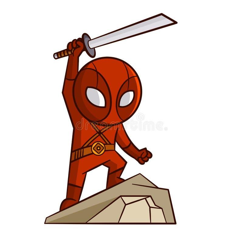 Стикер Ninja супергероя красный иллюстрация вектора