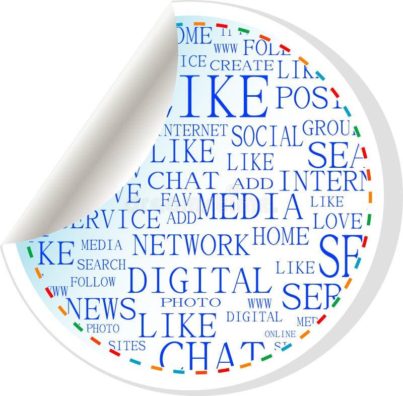 стикер social средств ярлыка кнопки иллюстрация вектора