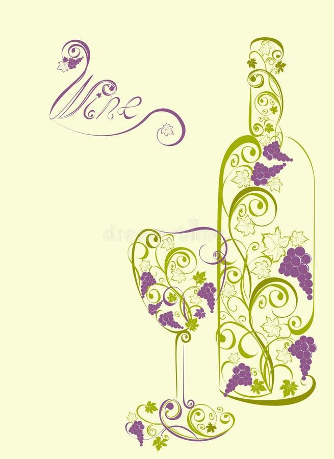 Стилизованная бутылка вина и стекло вина иллюстрация штока